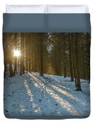 Sun Setting On Winter Woods Duvet Cover