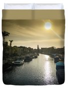 Sun Setting Over Canals Of Naples In Long Beach, Ca Duvet Cover