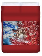 Sun Sky Clouds And A Red Maple Duvet Cover