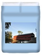 Sun Up At Sachs Covered Bridge Duvet Cover by Bill Cannon