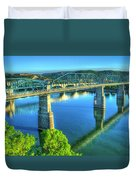 Sun Up Reflections Chattanooga Tennessee Duvet Cover