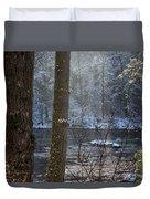 Sunbreak On A Snowy Day Duvet Cover