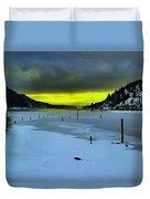 Sundown On Lake Shore Duvet Cover