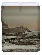 Sundown Over The Ocean Rocks Duvet Cover