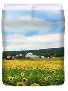 Sunflower Country Landscape  Duvet Cover