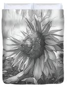 Sunflower Dawn Black And White Drawing Duvet Cover