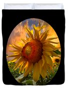 Sunflower Dawn In Oval Duvet Cover