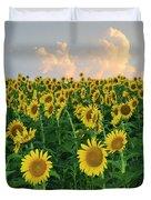 Sunflower Faces At Sunset Duvet Cover