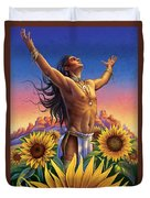 Sunflower - Glorious Success Duvet Cover by Anne Wertheim