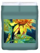 Sunflower Head 4 Duvet Cover by Kathy Braud