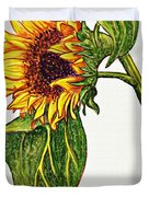 Sunflower In Gouache Duvet Cover