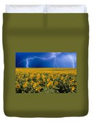 Sunflower Lightning Field  Duvet Cover