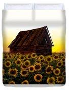 Sunflower Morning With Barn Duvet Cover
