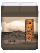Sunflower Silo In Boulder County Colorado Sepia Color Print Duvet Cover