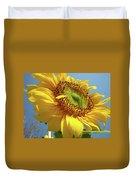 Sunflower Sunlit Sun Flowers 6 Blue Sky Giclee Art Prints Baslee Troutman Duvet Cover