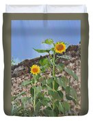 Sunflowers And A Stone Wall Duvet Cover