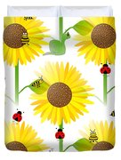 Sunflowers And Bees Duvet Cover