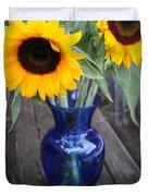 Sunflowers And Blue Vase - Still Life Duvet Cover