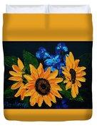 Sunflowers And Delphinium Duvet Cover