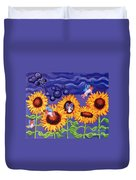 Sunflowers And Faeries Duvet Cover