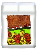 Sunflowers And Fields Duvet Cover