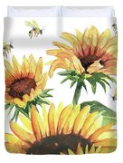 Sunflowers And Honey Bees Duvet Cover