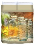 Sunflowers And Jars Duvet Cover