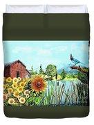 Sunflowers And Jaybird Duvet Cover