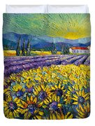 Sunflowers And Lavender Field - The Colors Of Provence Modern Impressionist Palette Knife Painting Duvet Cover