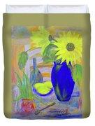 Sunflowers And Lemons Duvet Cover