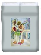 Sunflowers And Peaches Duvet Cover
