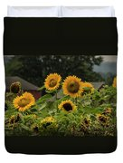 Sunflowers And Red Barn 2 Duvet Cover