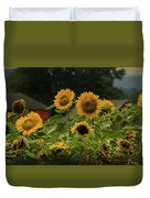 Sunflowers And Red Barn 3 Duvet Cover