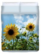 Sunflowers And The Bee Duvet Cover