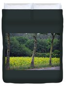 Sunflowers And Trees Growing Duvet Cover