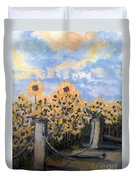 Sunflowers At Rest Stop Near Great Sand Dunes Duvet Cover