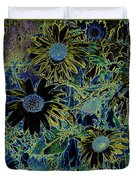 Sunflowers By Wall Duvet Cover