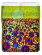 Sunflowers Field At Sunrise Duvet Cover