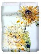 Sunflowers II Duvet Cover by Monique Faella