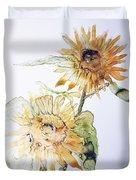 Sunflowers II Uncropped Duvet Cover by Monique Faella