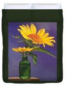 Sunflowers In A Green Bottle Duvet Cover
