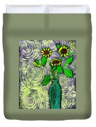 Sunflowers In A Green Vase Duvet Cover