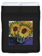 Sunflowers In A Square Vase Duvet Cover
