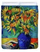 Sunflowers In Blue Vase Duvet Cover