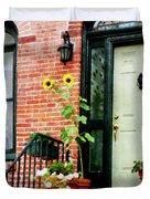 Sunflowers On Stoop Duvet Cover