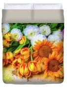Sunflowers Tulips Duvet Cover