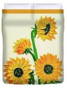Sunflowers Using Palette Knife Duvet Cover