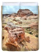 Sunlight On Colorful Boulder Above Wash 3 In Valley Of Fire Duvet Cover