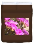 Sunlight On Pink Cactus Blooms Duvet Cover