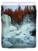 Sunlit Edge Of The Moraine Falls Duvet Cover